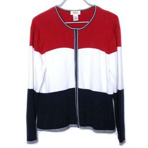 Talbots Red White Navy Blue Cotton Sweater xl (p10